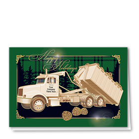 Premium Foil Trucking Holiday Cards - Plaid and Pines