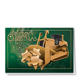 Premium Foil Construction Holiday Cards - Star Dozer