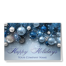 Personalized Premium Foil Automotive Holiday Cards - Azure Bulbs