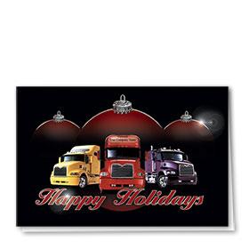Premium Foil Trucking Holiday Cards - Terrific Trio