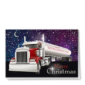 Premium Foil Trucking Holiday Cards - Stellar Night