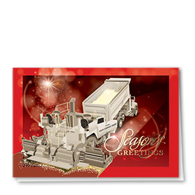 Premium Foil Construction Holiday Cards - Garnet Paver