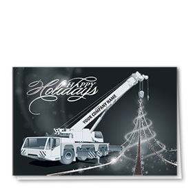 Premium Foil Construction Holiday Cards - Midnight Crane