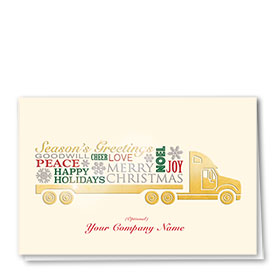 Premium Foil Trucking Holiday Cards - Many Greetings