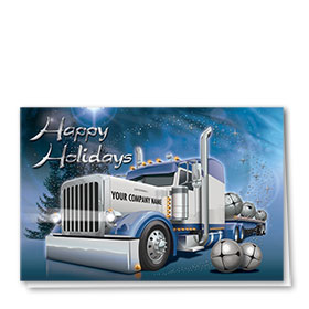 Premium Foil Trucking Holiday Cards - Silver Bells
