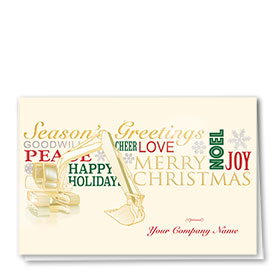 Premium Foil Construction Christmas Cards - Excavator Greetings