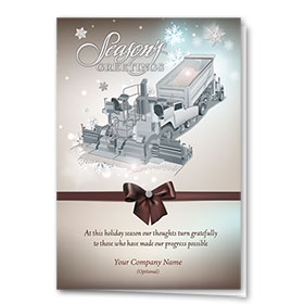 Premium Foil Construction Christmas Cards - Bow Paver