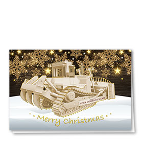 Premium Foil Construction Christmas Cards - Glitter Dozer