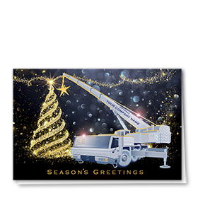 Premium Foil Construction Holiday Cards - Tree Topper