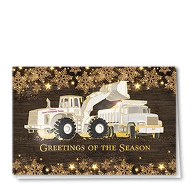 Premium Foil Construction Christmas Cards - Gold Glitter Duo