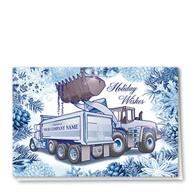 Premium Foil Construction Holiday Cards Card - Navy Duo
