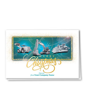 Premium Foil Construction Christmas Cards - Teal Trio