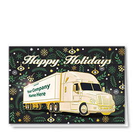 Premium Foil Trucking Christmas Cards - Pine Décor