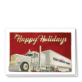 Premium Foil Trucking Christmas Cards - Crimson Christmas