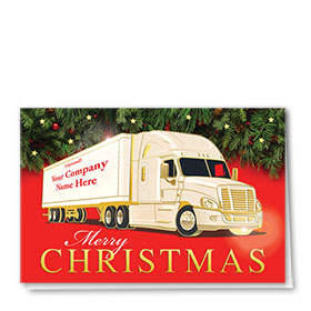 Premium Foil Trucking Christmas Cards - Christmas Merriment