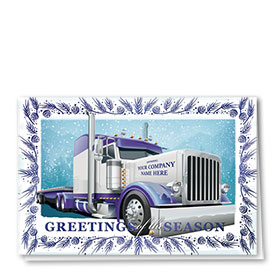 Premium Foil Trucking Christmas Cards - Blue Ice