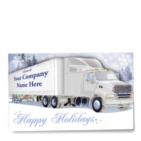 Premium Foil Trucking Christmas Cards - Twinkling Truck
