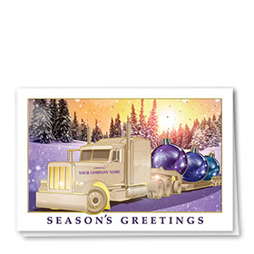 Premium Foil Trucking Christmas Cards - Rainbow Sunset
