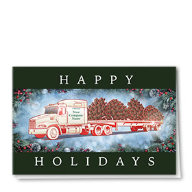 Premium Foil Trucking Christmas Cards - Pine Cone Flatbed