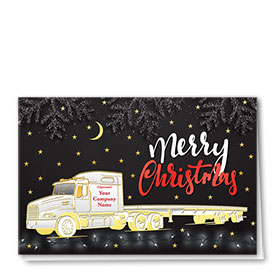 Premium Foil Trucking Christmas Cards - Starry Night Flatbed