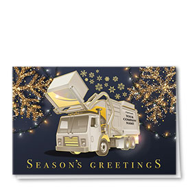 Premium Foil Trucking Christmas Cards - Navy Sparkle Refuse