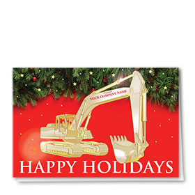 Premium Foil Construction Christmas Cards - Winter Berry Excavator 1