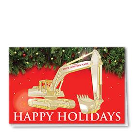 Premium Foil Construction Christmas Cards - Festive Excavator