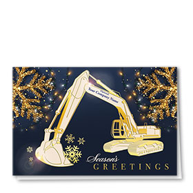 Premium Foil Construction Christmas Cards - Radiant Excavator