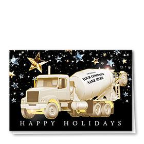 Premium Foil Construction Christmas Cards - Metallic Stars