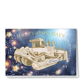 Premium Foil Construction Christmas Cards - Sparkling Dozer