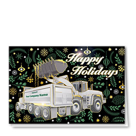 Premium Foil Construction Christmas Cards - Pine Décor Duo