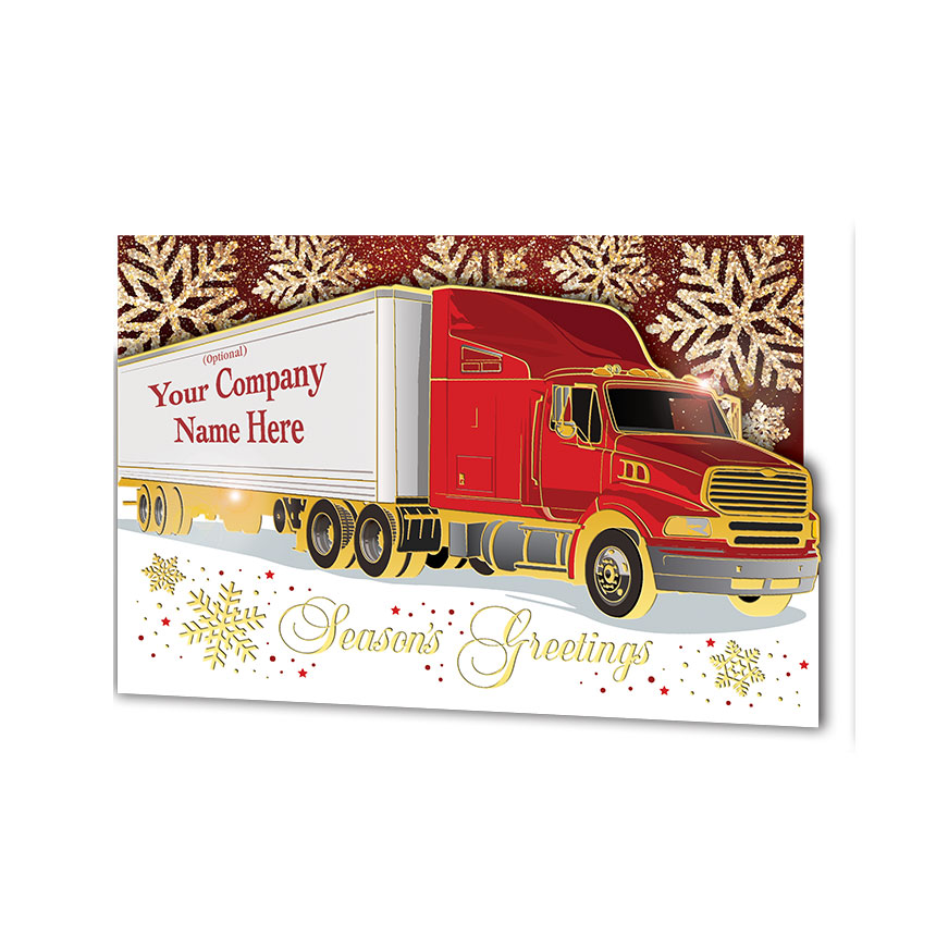 Premium Foil Trucking Christmas Cards - Carmine Truck