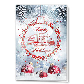 Premium Foil Trucking Christmas Cards - Shining Bulbs