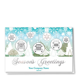 Premium Foil Trucking Christmas Cards - Greeting Grills
