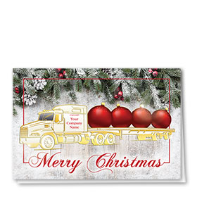 Premium Foil Trucking Christmas Cards - Gold Flatbed
