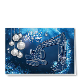 Premium Foil Construction Christmas Cards - Blue Glitter