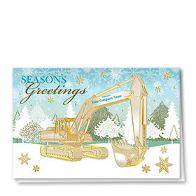 Premium Foil Construction Christmas Cards - Golden Excavator