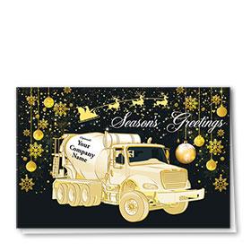 Premium Foil Construction Christmas Cards - Sleigh Concrete