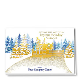 Premium Foil Construction Christmas Cards - Paving Gold