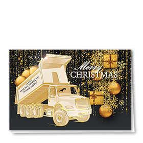 Premium Foil Construction Christmas Cards - Gold Gift Roll-Off