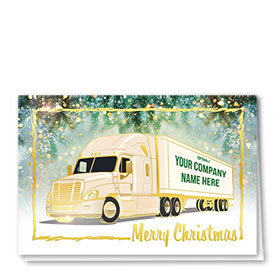 Premium Foil Trucking Christmas Cards - Pines Aglow