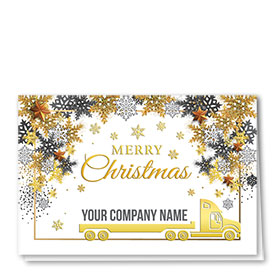 Premium Foil Trucking Christmas Cards - Golden Flatbed