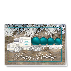 Premium Foil Trucking Christmas Cards - Teal Bulbs