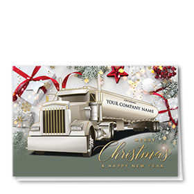 Premium Foil Trucking Christmas Cards - Red Ribbon Tanker
