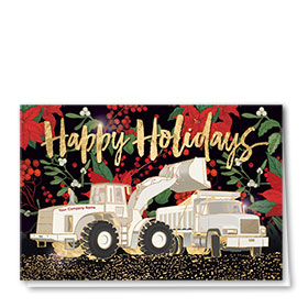 Premium Foil Construction Christmas Cards - Holiday Floral Duo