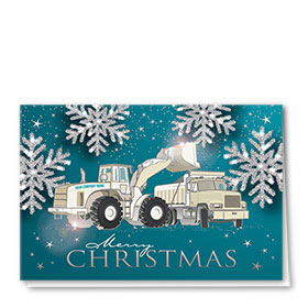 Premium Foil Construction Christmas Cards - Silver Glitter Duo