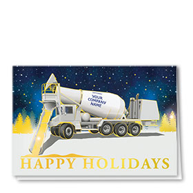 Premium Foil Trucking Christmas Cards - Gold Concrete
