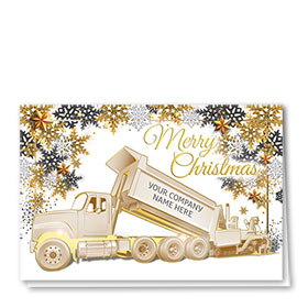 Premium Foil Trucking Christmas Cards - Golden Paver
