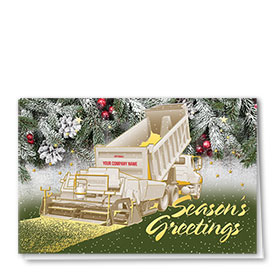Premium Foil Trucking Christmas Cards - Pine Paver