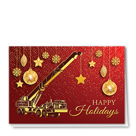 Premium Foil Trucking Christmas Cards - Golden Crane